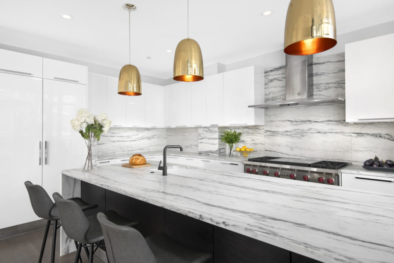 modern gold kitchen island lights